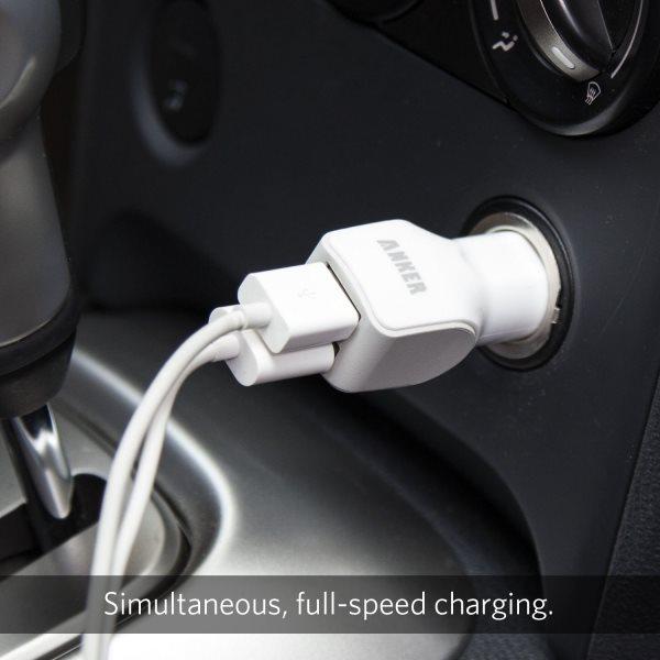 Mobilladdare för bilen, 2 uttag, vit med 2 kablar