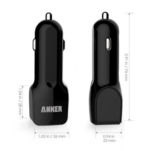 Mobilladdare för bilen, 2 uttag, svart, storlek