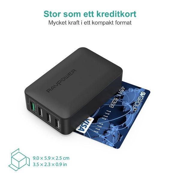 RAVPort mobilladdare med 4 uttag  och Quick Charge kompakt