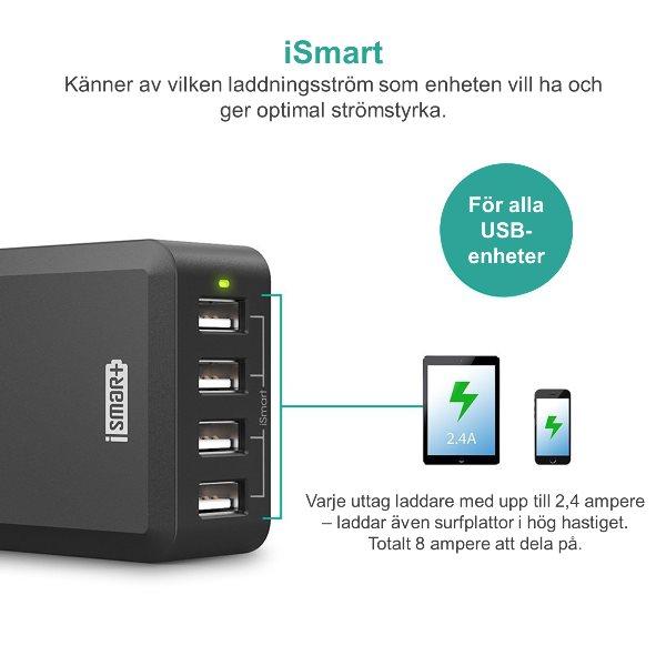 RAVPower mobilladdare med 4 uttag med iSmart