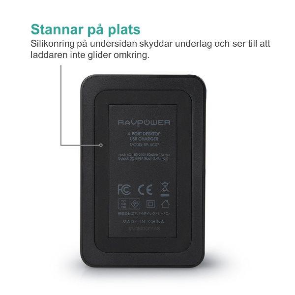 RAVPower mobilladdare med 4 uttag med silikonring