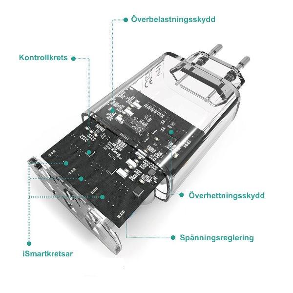 RAVPower mobilladdare med 3 uttag med skyddskretsar