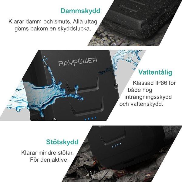 RAVPower Rugged 10050mAh powerbank vattentålig, damm- och smutstålig