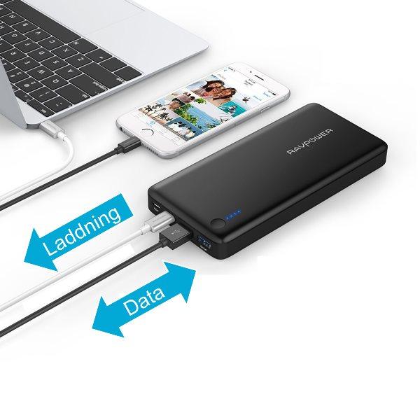 RAVPower 20100mAh powerbank med USB-C Power Delivery 30W för både laddning och dataöverföring