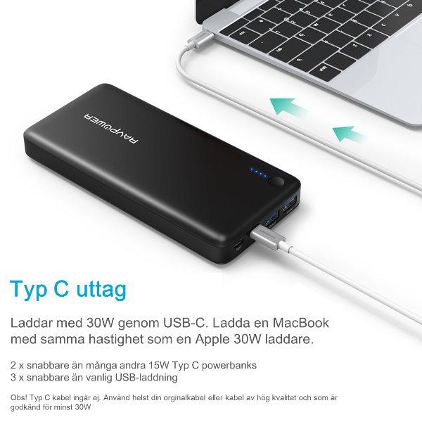 RAVPower 20100mAh powerbank med USB-C Power Delivery 30W för laddning av Macbook och bärbara datorer