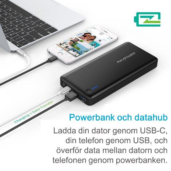 RAVPower 20100mAh powerbank med USB-C Power Delivery 30W och dataöverföring