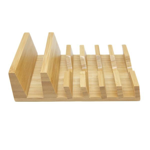 Mobilställ i bambu med 6 fack, från sidan