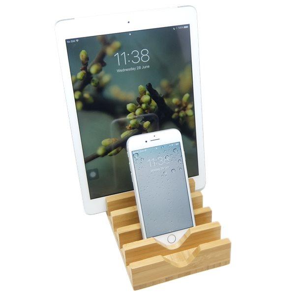 Mobilställ i bambu med 6 fack med iPad och iPhone
