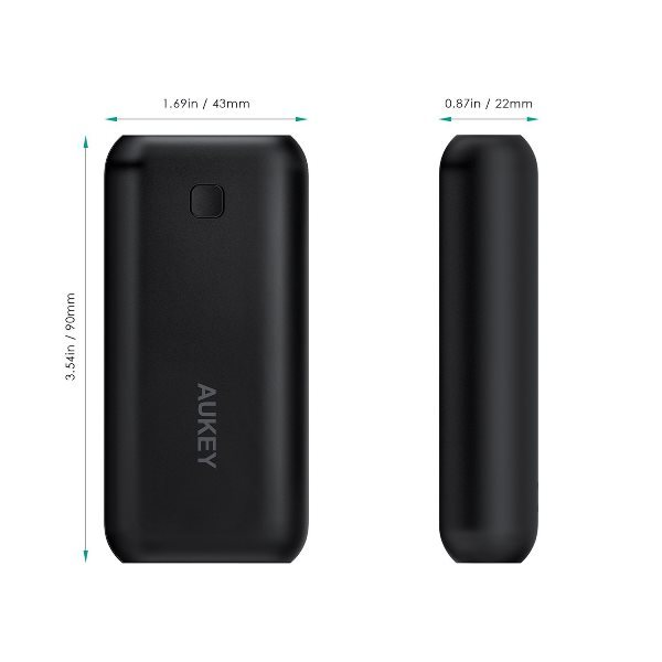 Aukey 5000mAh Pocket powerbank mått