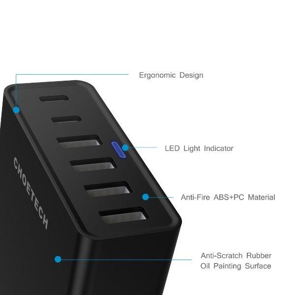 Choetech mobilladdare med 2 x USB-C och 4 x USB-A design