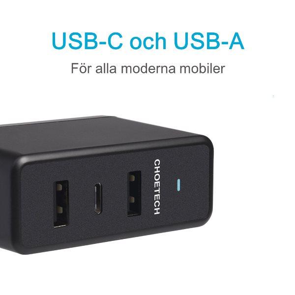Choetech mobilladdare med 1 USB-C och 2 USB-A på sidan
