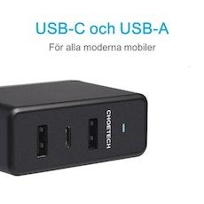 Choetech mobilladdare med 1 USB-C och 2 USB-A