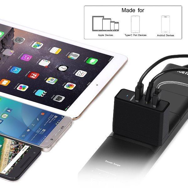 Choetech mobilladdare med 1 USB-C och 2 USB-A i uttag