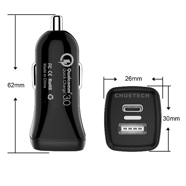 Choetech mobilladdare för bilen med QC 3.0 & USB-C mått