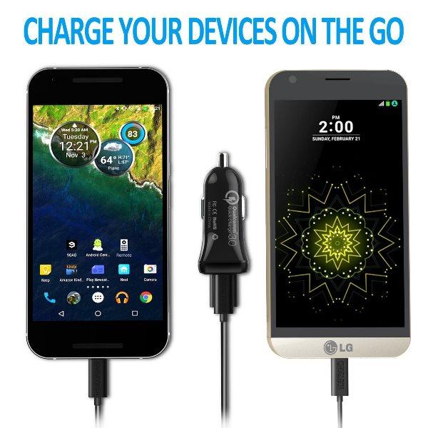 Choetech mobilladdare för bilen med QC 3.0 & USB-C laddar telefoner