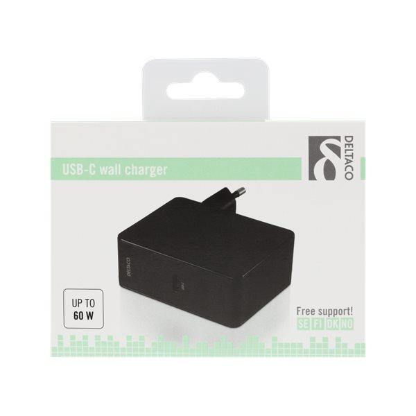 Deltaco USB-C laddare med 60W Power Delivery, förpackning - svart