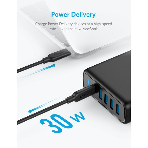 Anker PowerPort Speed Power Delivery 5 mobilladdare med 30W Power Delivery