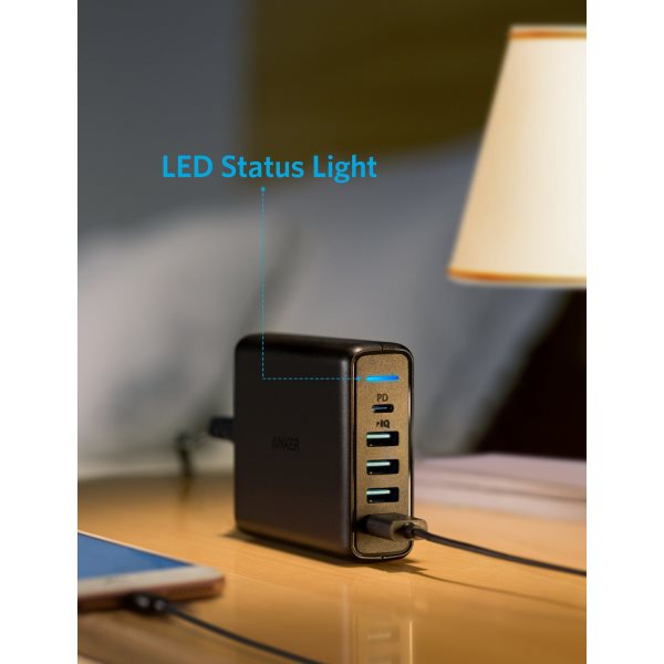 Anker PowerPort Speed Power Delivery 5 mobilladdare LED statuslampa