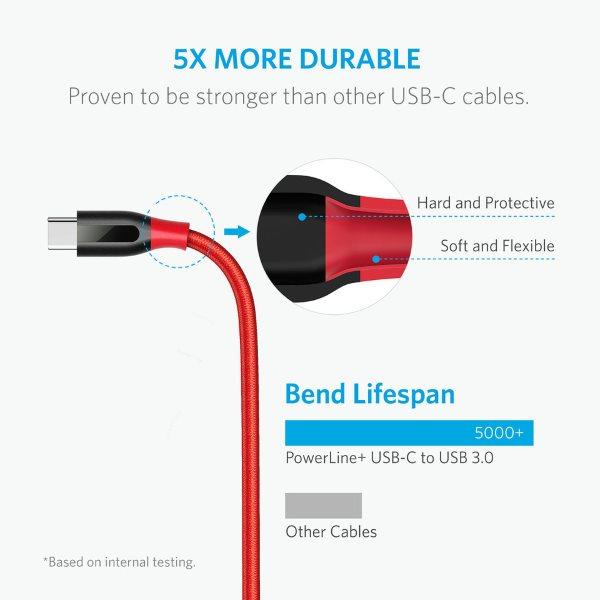 Anker PowerLine plus USB-C röd klarar att böjas