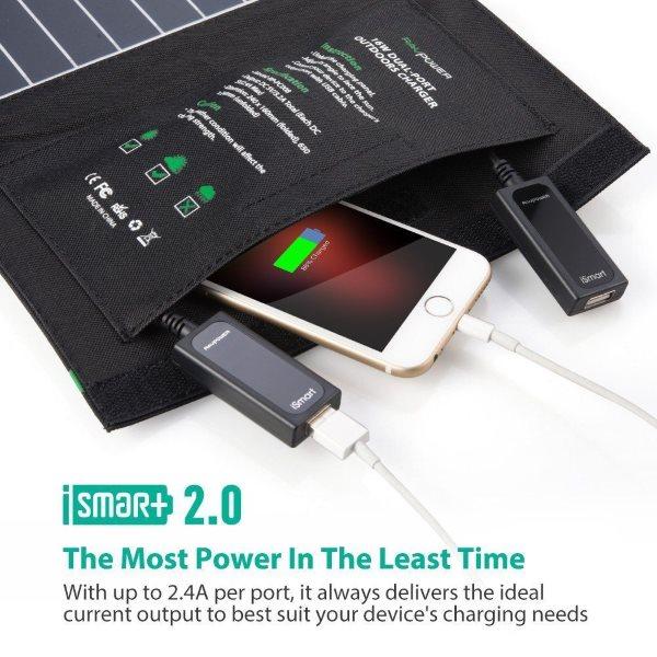 RAVPower Solcellsladdare 16W och 2 uttag med ficka för kablar