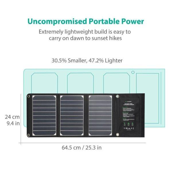 RAVPower Solcellsladdare 16W och 2 uttag kompakt format