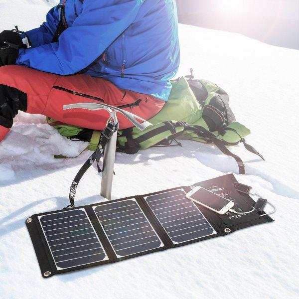 RAVPower Solcellsladdare 16W och 2 uttag för naturälskaren