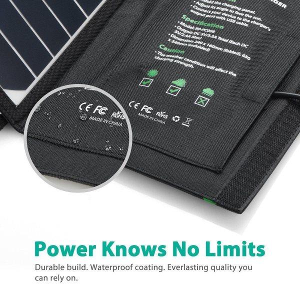 RAVPower Solcellsladdare 16W och 2 uttag stark och vattentålig