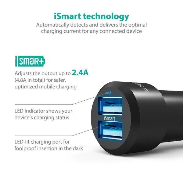 RAVPower billaddare 2 uttag med LED-belysning inuti uttagen