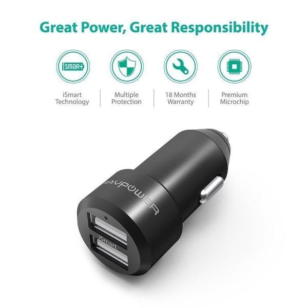 RAVPower billaddare 2 uttag med inbyggda skydd