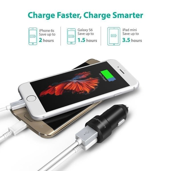 RAVPower billaddare 2 uttag laddar telefoner och surfplattor
