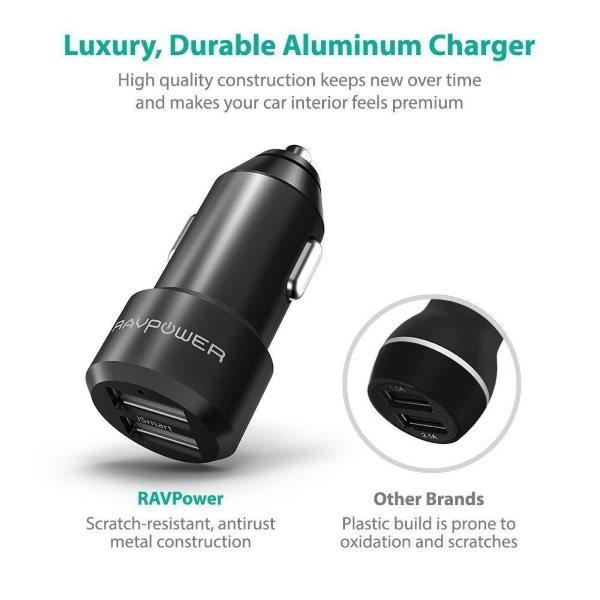 RAVPower billaddare 2 uttag i aluminium