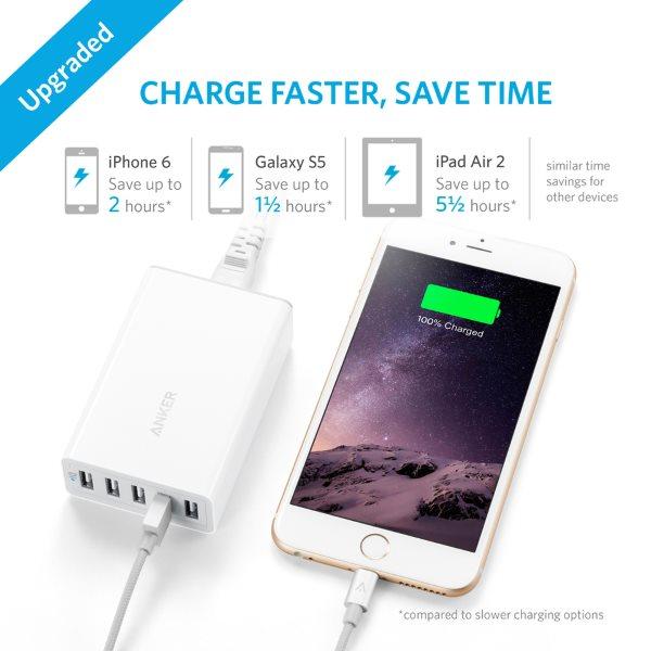 Anker PowerPort 5 mobilladdare med 5 uttag laddar snabbt vit