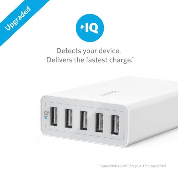 Anker PowerPort 5 mobilladdare med 5 uttag med PowerIQ vit