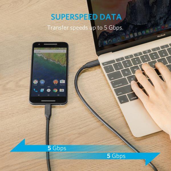 Anker PowerLine USBC - USBC snabb dataöverföring 90cm