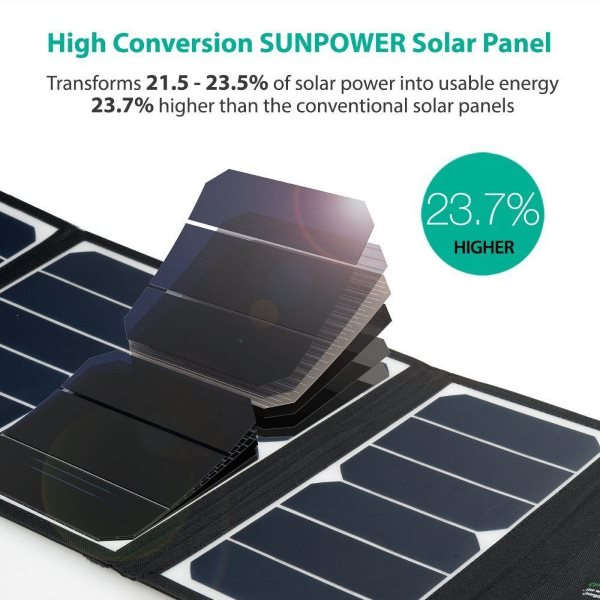 RAVPower Solcellsladdare 24W med effektiva solceller