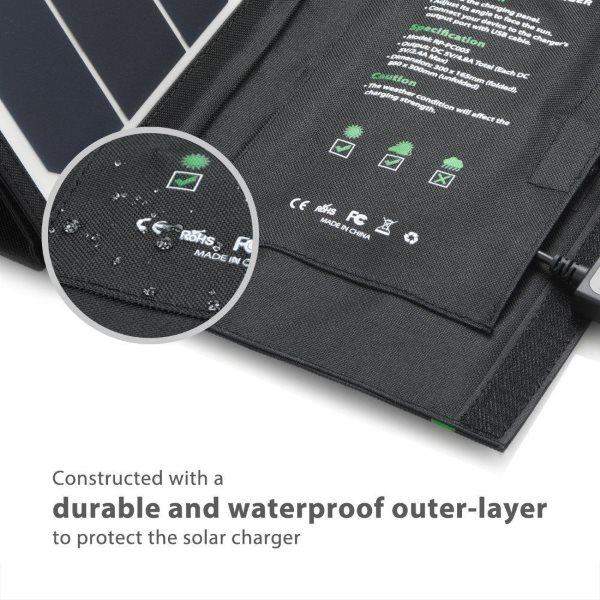 RAVPower Solcellsladdare 24W tuff konstruktion