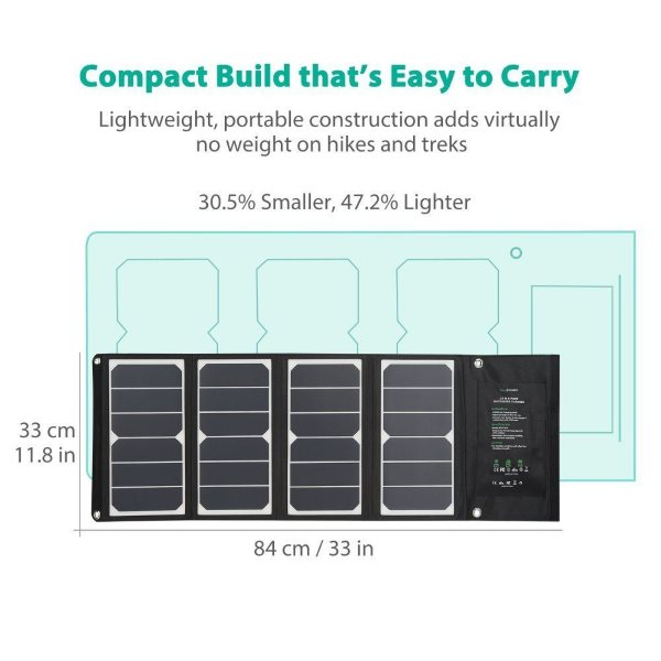 RAVPower Solcellsladdare 24W i kompakt format