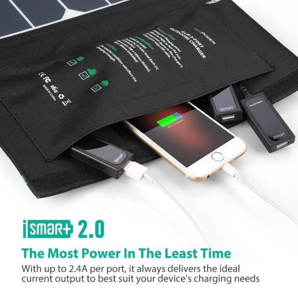 RAVPower Solcellsladdare 24W med 3 uttag