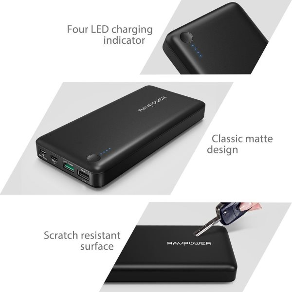 RAVPower Turbo 20100mah powerbank med QC3 och USBC - design