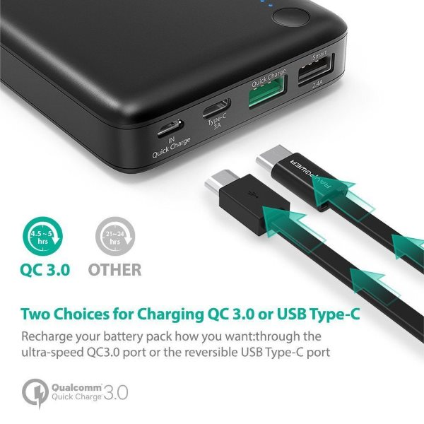 RAVPower Turbo 20100mah powerbank med QC3 och USBC - två alternativ för laddning