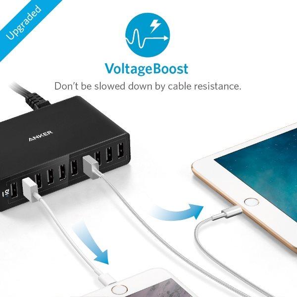 Anker PowerPort 10 mobilladdare för surfplattor och telefoner