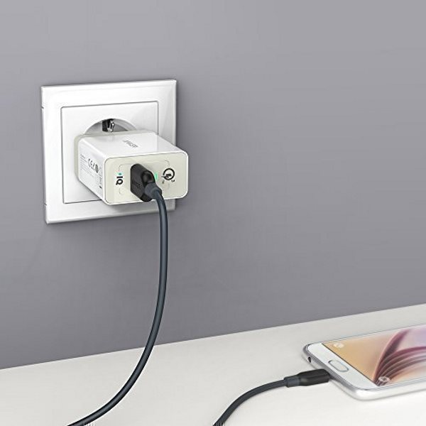 Anker PowerPort+ 1 vit - Quick Charge mobilladdare i vägguttag