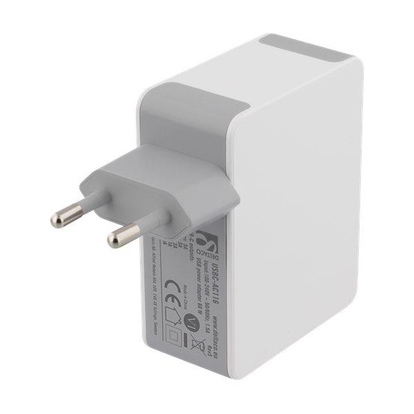 Deltaco USB-C laddare med 60W Power Delivery, baksida - vit
