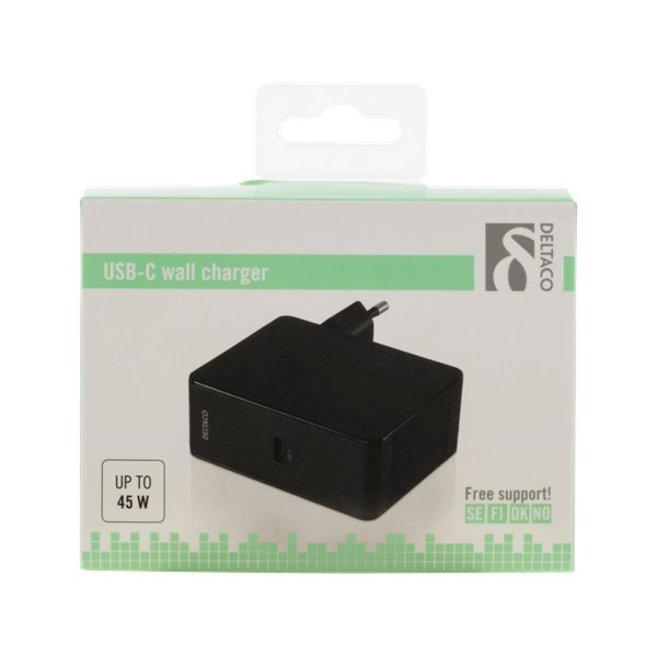 Deltaco USB-C laddare med 45W Power Delivery, förpackning - svart