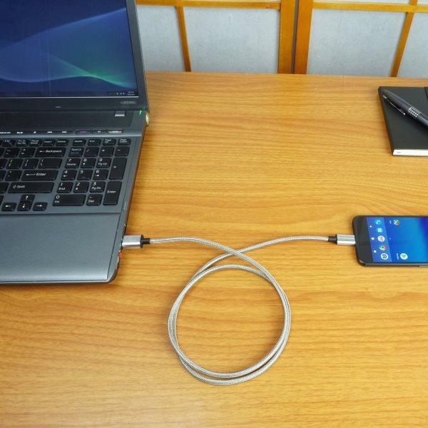 Fuse Chicken Armour USB-C 1m rostfritt stål, kopplar dator och telefon