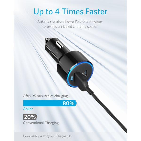 Anker PowerDrive Speed 2 USB-C mobilladdare för bilen snabb laddning