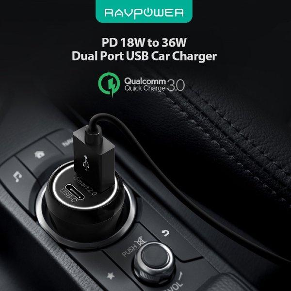 RAVPower billaddare med USB-C Power Delivery