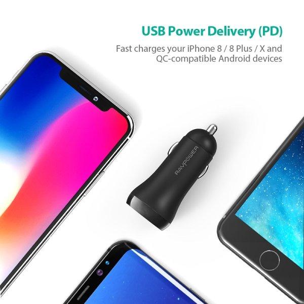 RAVPower billaddare med USB-C Power Delivery laddar med PD och QC