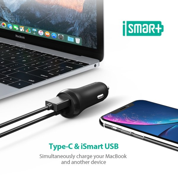 RAVPower billaddare med USB-C Power Delivery och Quick Charge