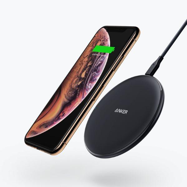 Anker PowerWiave Pad 10W trådlös mobilladdare laddar iPhone